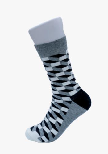 black-plaid-smiley-socks